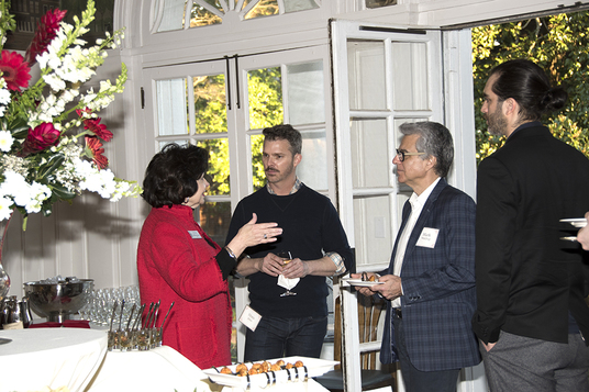 Dean Boschung speaks to members of the production