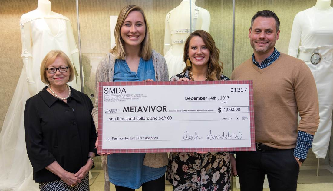 Dr. Shirley Foster, Leah Sneddon, Madison Quattlebaum, and Brian Taylor pose with check  to METAvivor